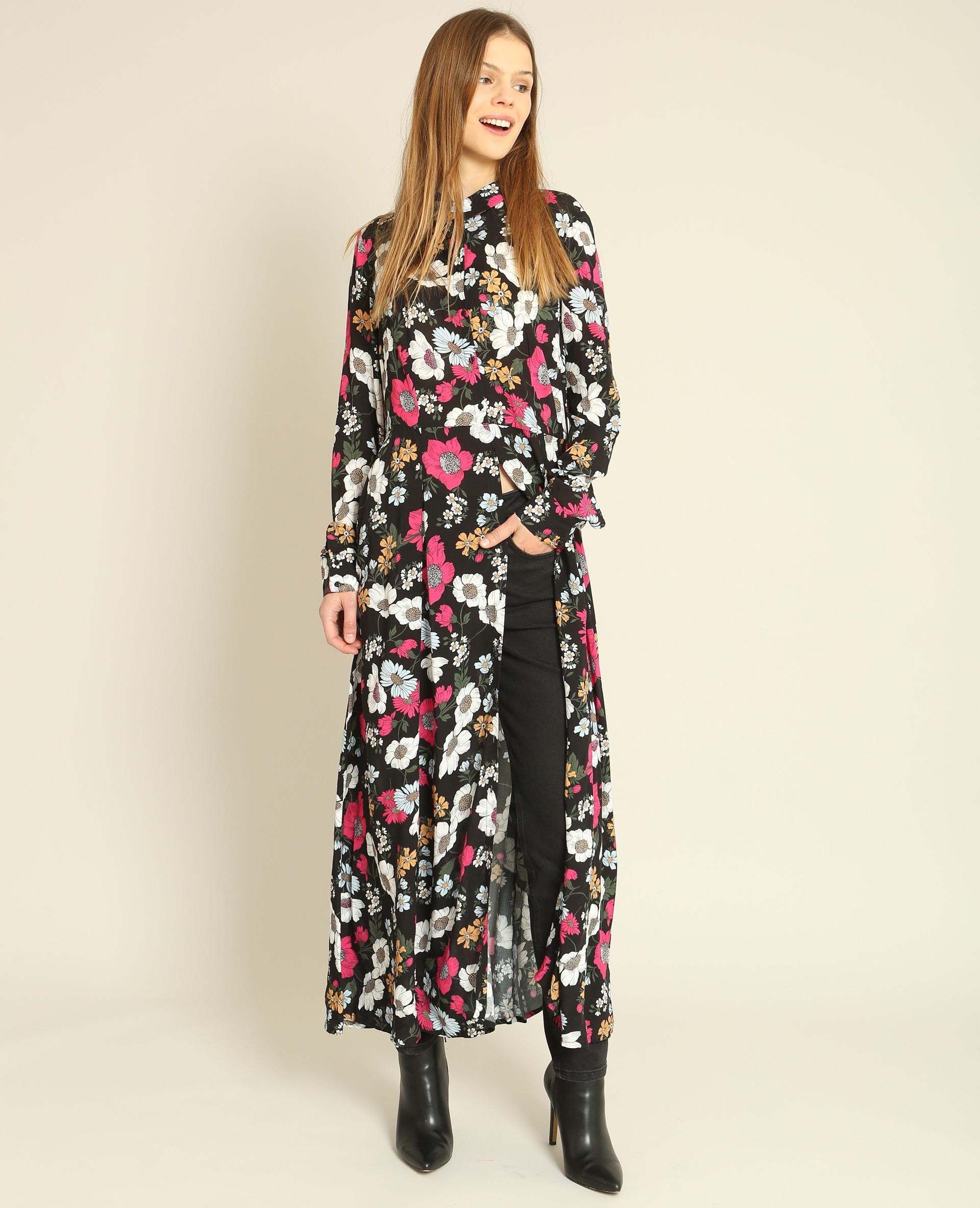 Robe Chemise Fleurie Noir  780845899E8A  Pimkie