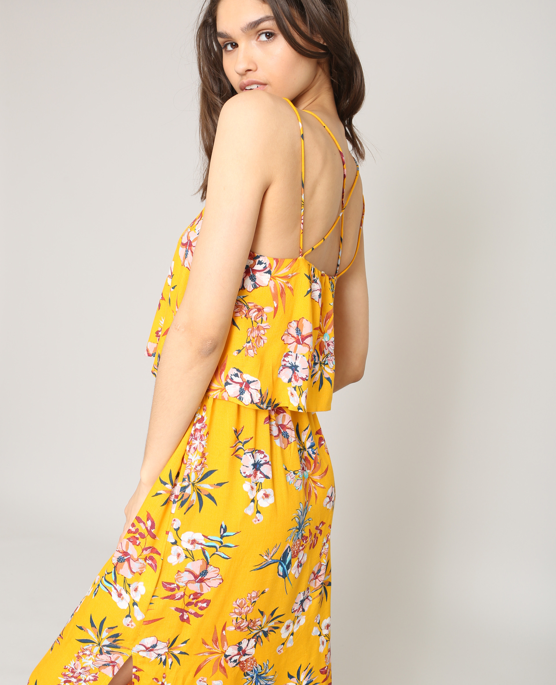 Robe Longue À Fleurs Jaune  780870061E3A  Pimkie