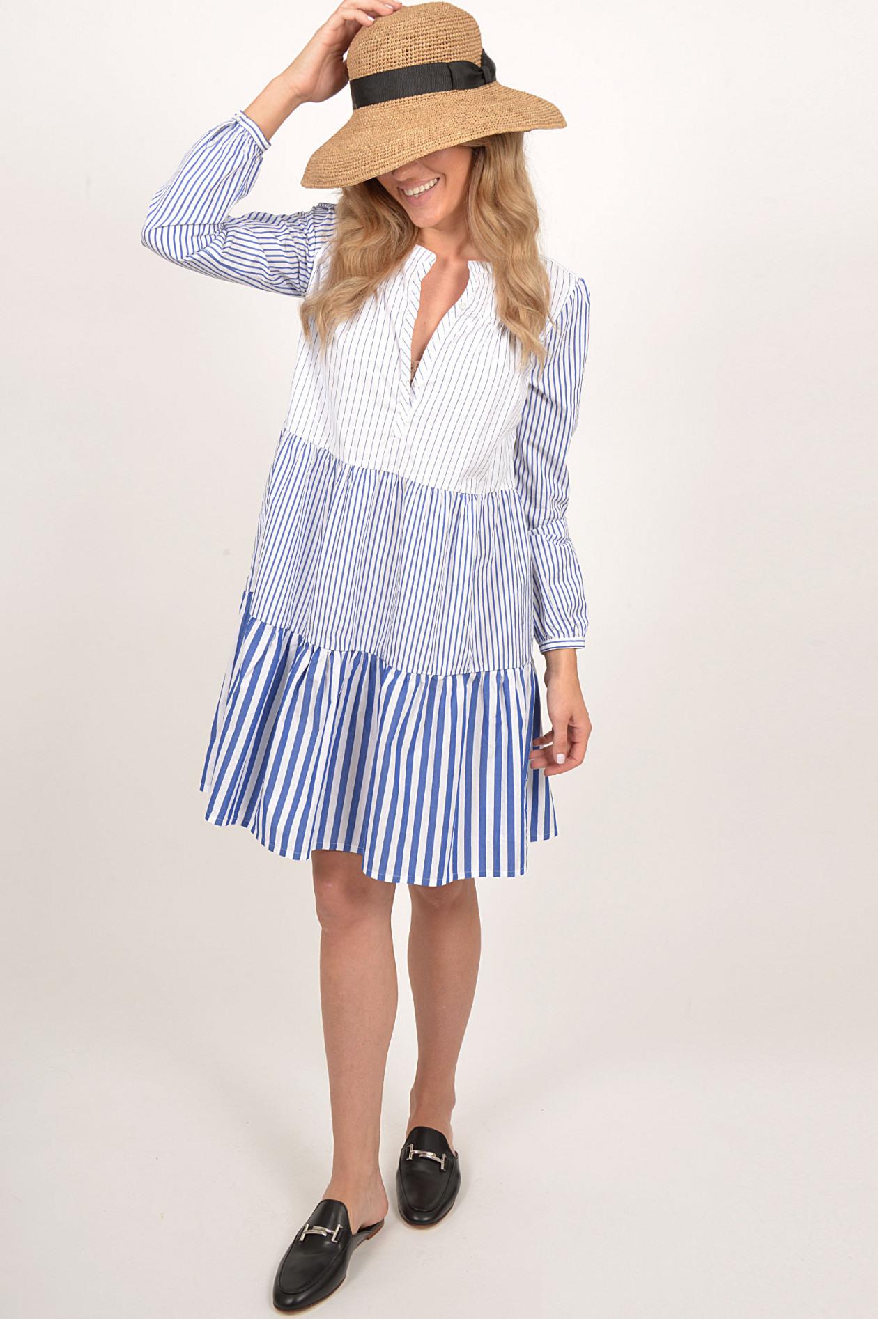 Robert Friedman Kleid Aus Baumwolle In Blau/Weiß Gestreift