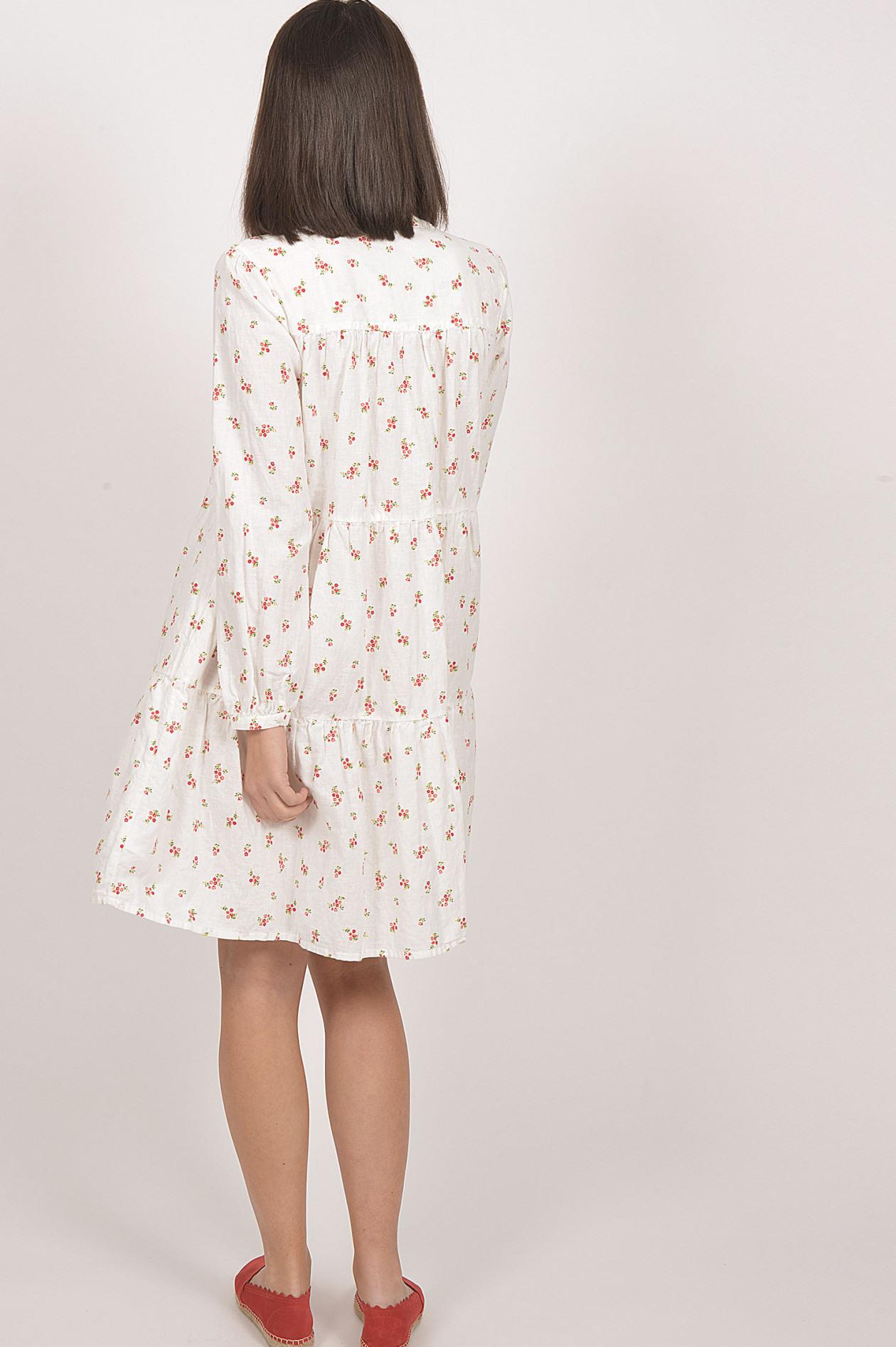 Robert Friedman Kleid Mit Blumenprint In Weiß/Rot  Gruenerat