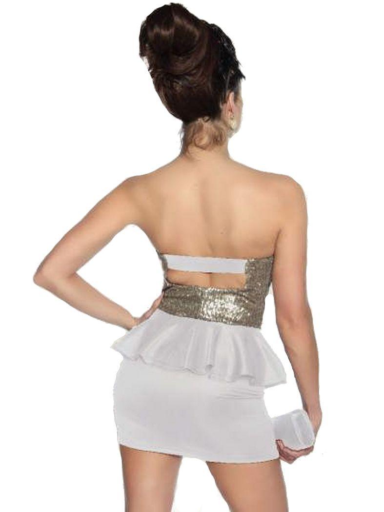 Rockabilly Bandeau Mini Kleid Weiß Gold Mit Rockte