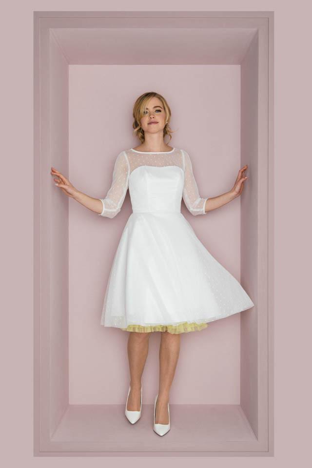 Rockabilly Hochzeitskleid Mit 3/4 Arm  Schwingendes