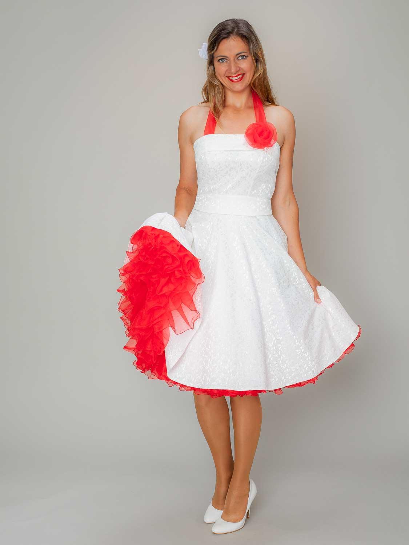 Rockabilly Petticoat Kleid Hochzeit Weiss Rot  Petticoatshop