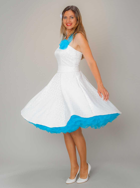 Rockabilly Petticoat Kleid Hochzeit Weiss Türkis