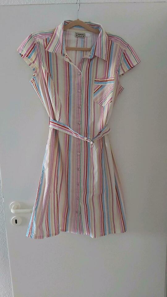 Rockabily Hemdkleid Kleid Büro Weiß Bunt 42 L Knielang