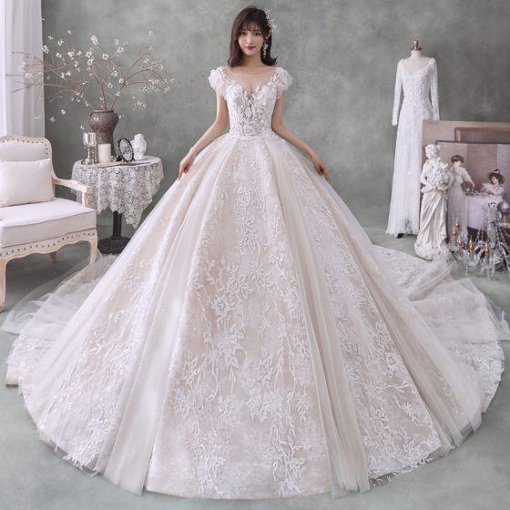 Romantisch Champagner Hochzeits Brautkleider
