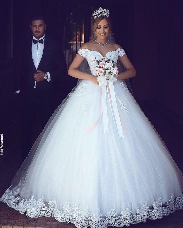 Romantisch Weiß Brautkleider Mit Spitze Schulterfrei