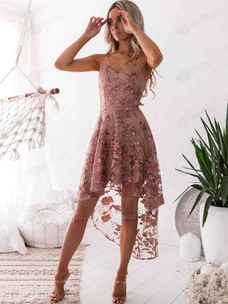Rosa Asymmetrischtüll Stickerei Spaghetti Kleid  Tidebuy