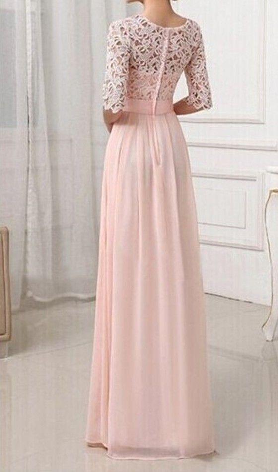 Rosa Damen Langarm Spitze Maxikleid Lange Abendkleid