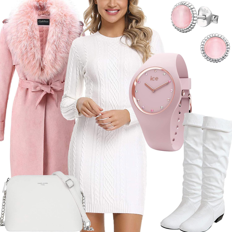 Rosaweißes Frauenoutfit Mit Strickkleid Stiefeln Und Uhr