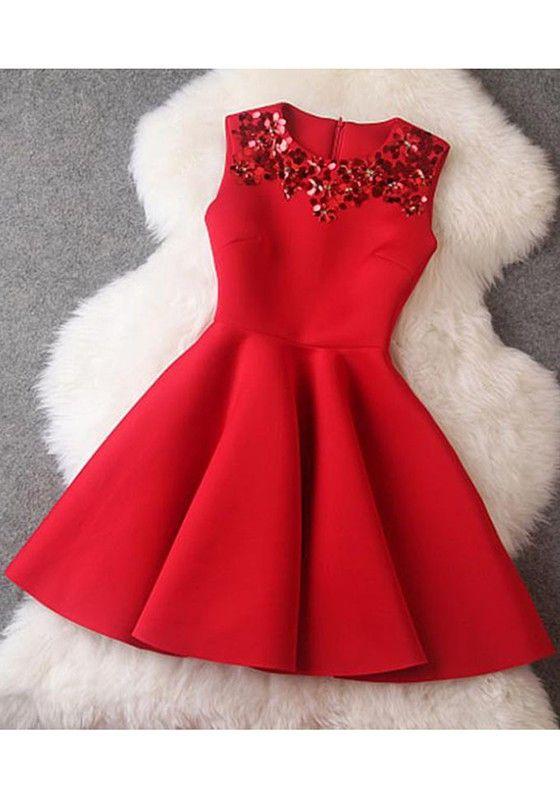 Rot Glockenkleid Minikleid Skaterkleid Paillette