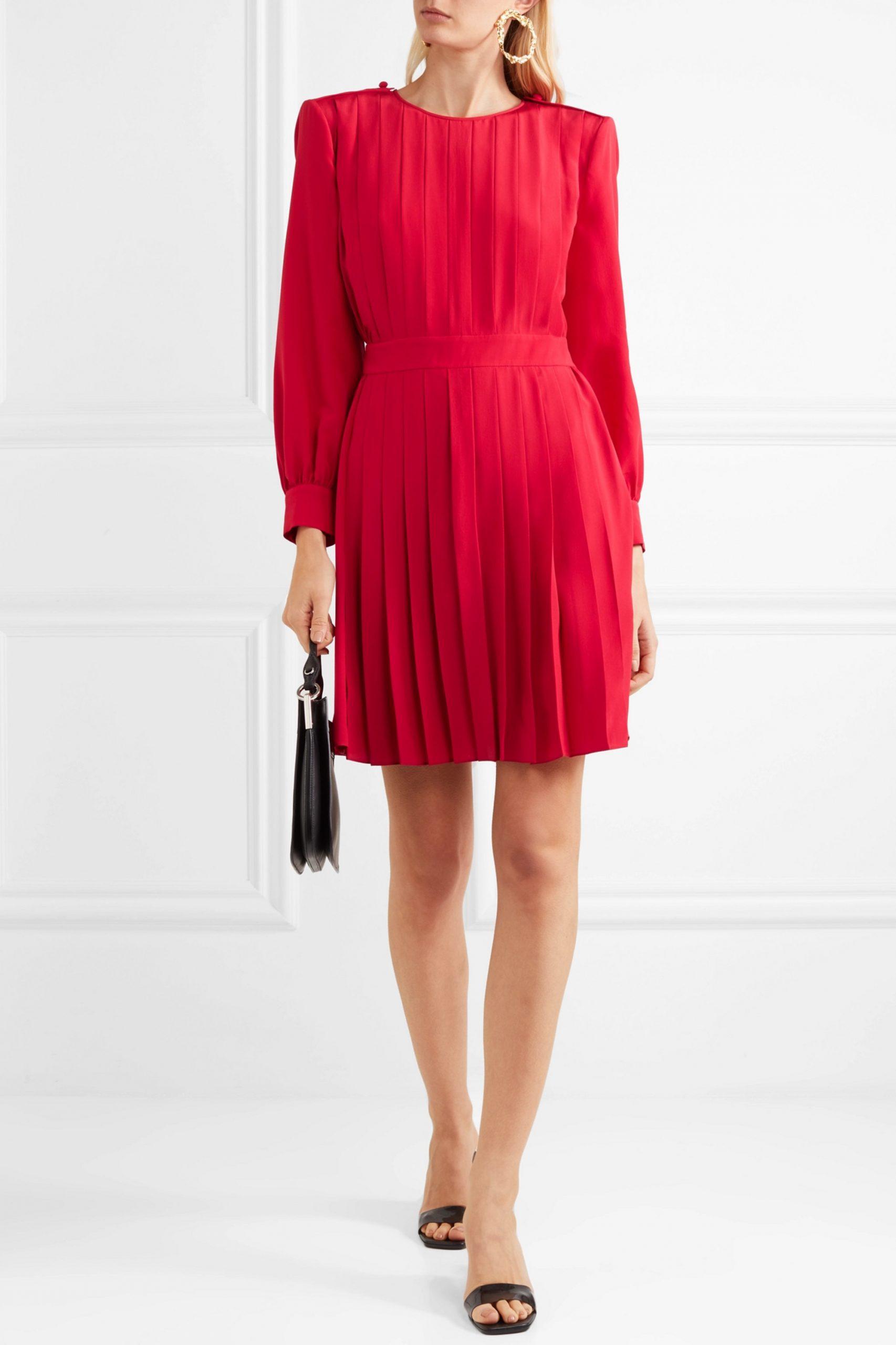 Rot Kleid Aus Crêpe De Chine Aus Seide Mit Falten  Fendi