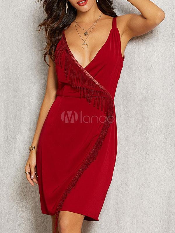 Rote Figurbetonte Kleider Ärmelloses Kleid Mit Fransen