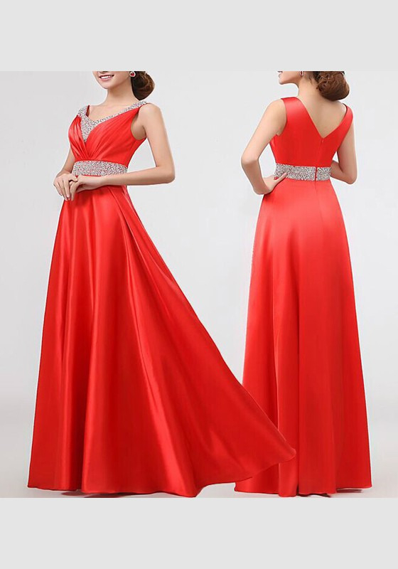 Rote Splicing Pailletten Vausschnitt Ärmelloses Elegantes