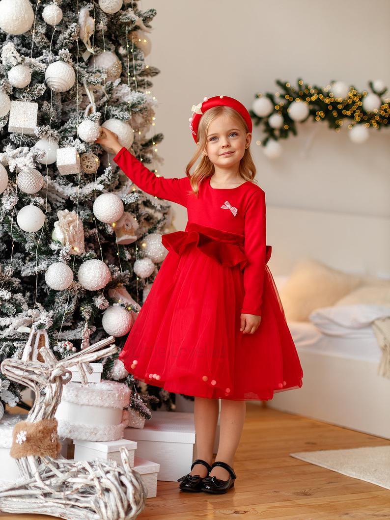 Rote Tutu Kleid Flauschige Top Rotes Kleid Blumenmädchen