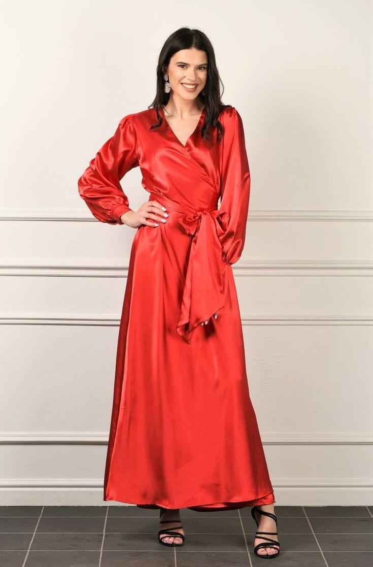 Roter Satin Maxi Kleid / Wrap Robe Kleid Manschette Lange