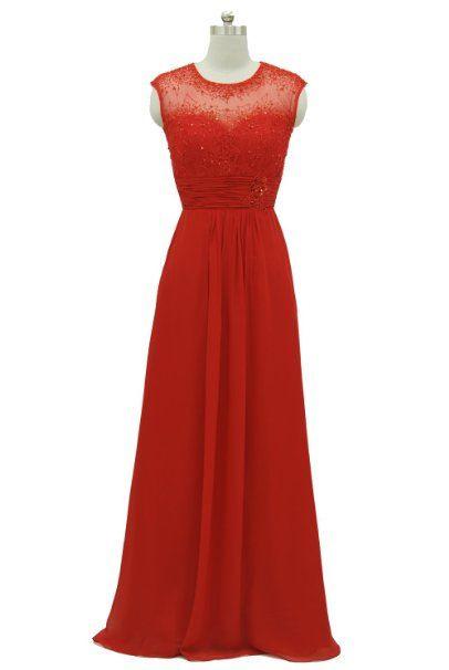 Rotes Chiffonkleid Mit Spitze  Rotes Langes Kleid Damen