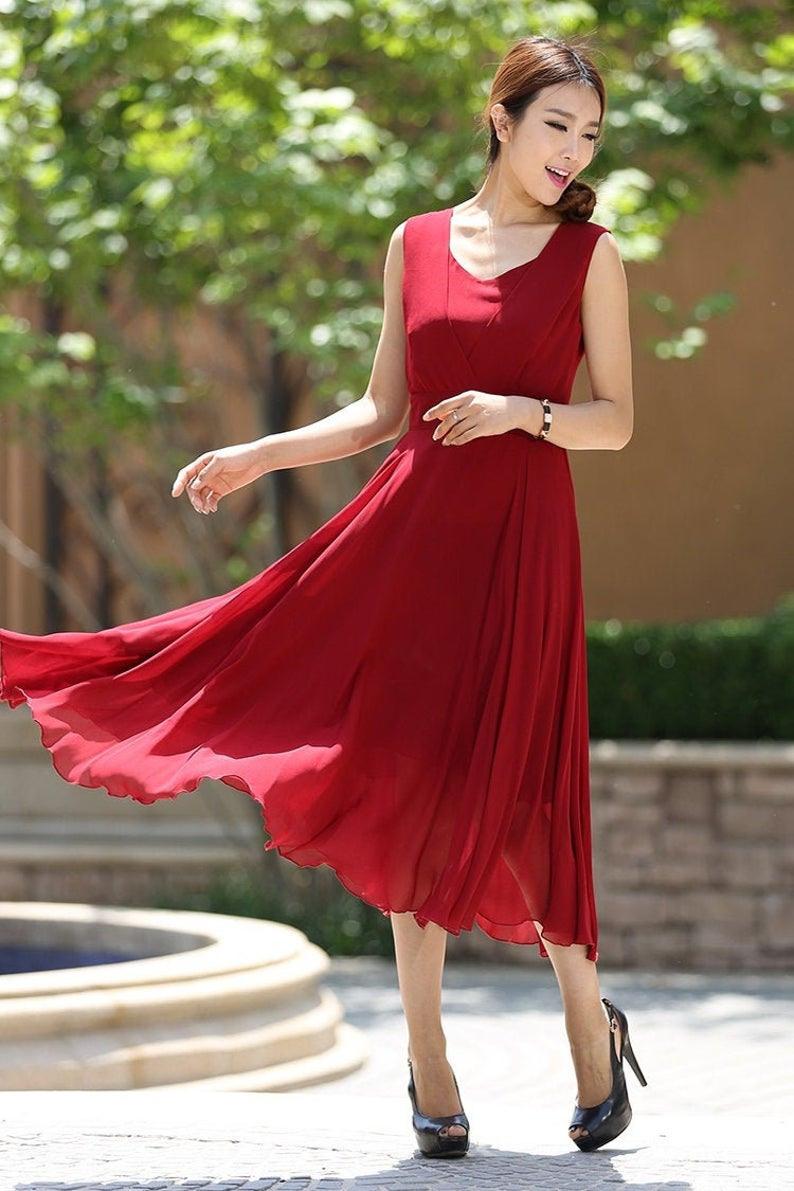 Rotes Kleid Cocktailkleid Sommerkleid Chiffon Kleid  Etsy