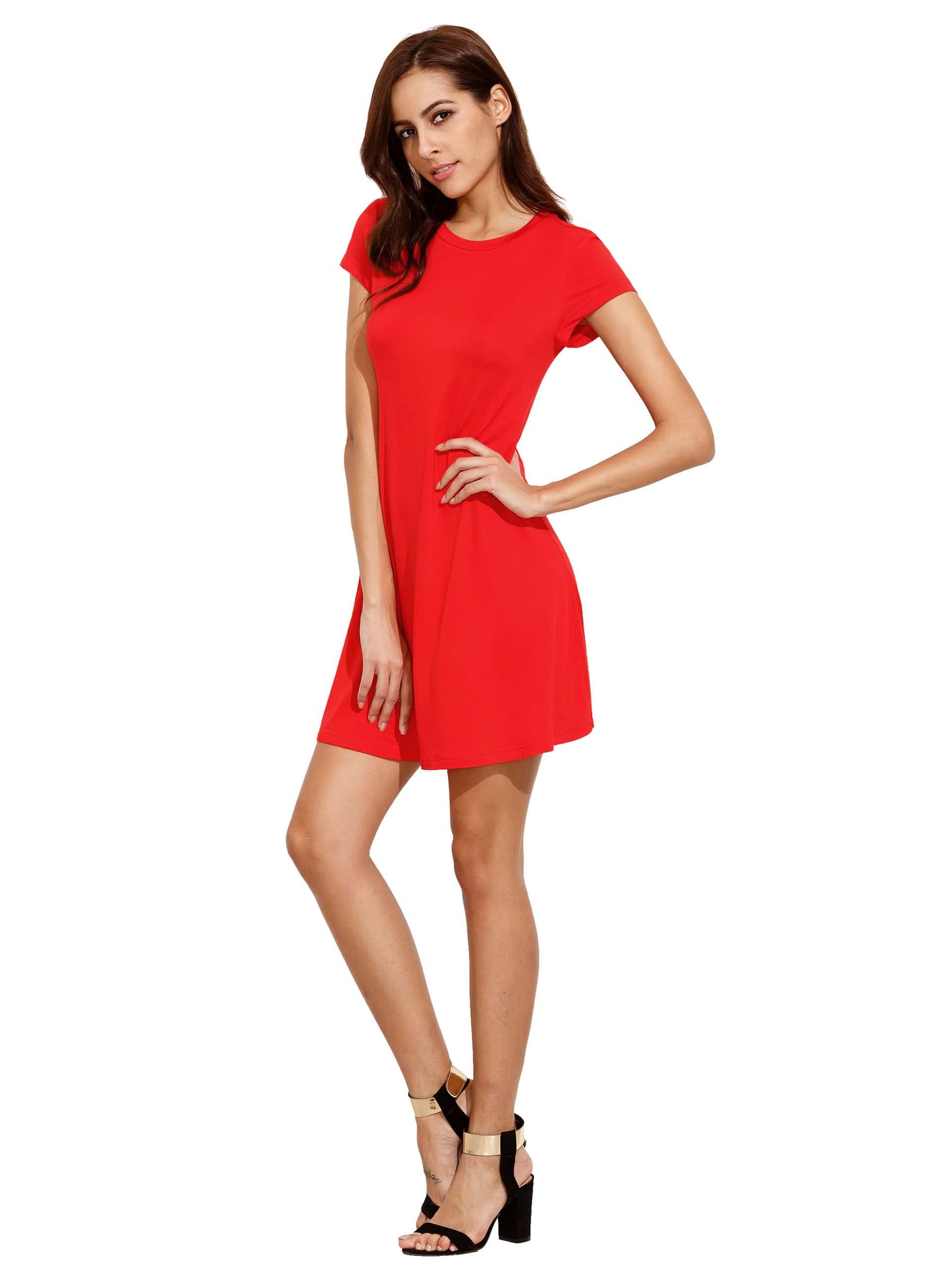 Rotes Kurzes Hülsenhemdschnittschwingenkleid  Shein