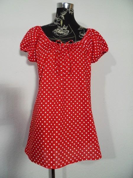 Rotes Punkte Tunika Hängerchen Kleid Hänger Gepunktet Rot