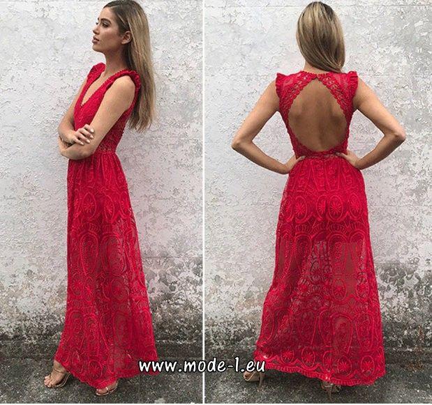 Rotes Rückenfreies Spitzenkleid Sommerkleid Lang  Kleid