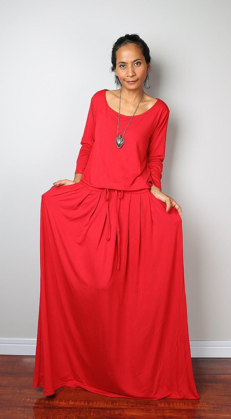 Rotes Sommerkleid Lang Meciko