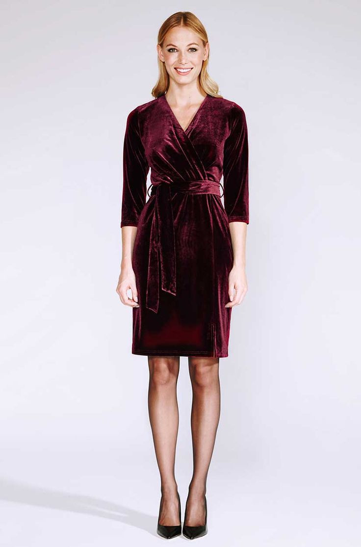 Rotes Wickelkleid Aus Samt  Wickelkleid Kleid Für