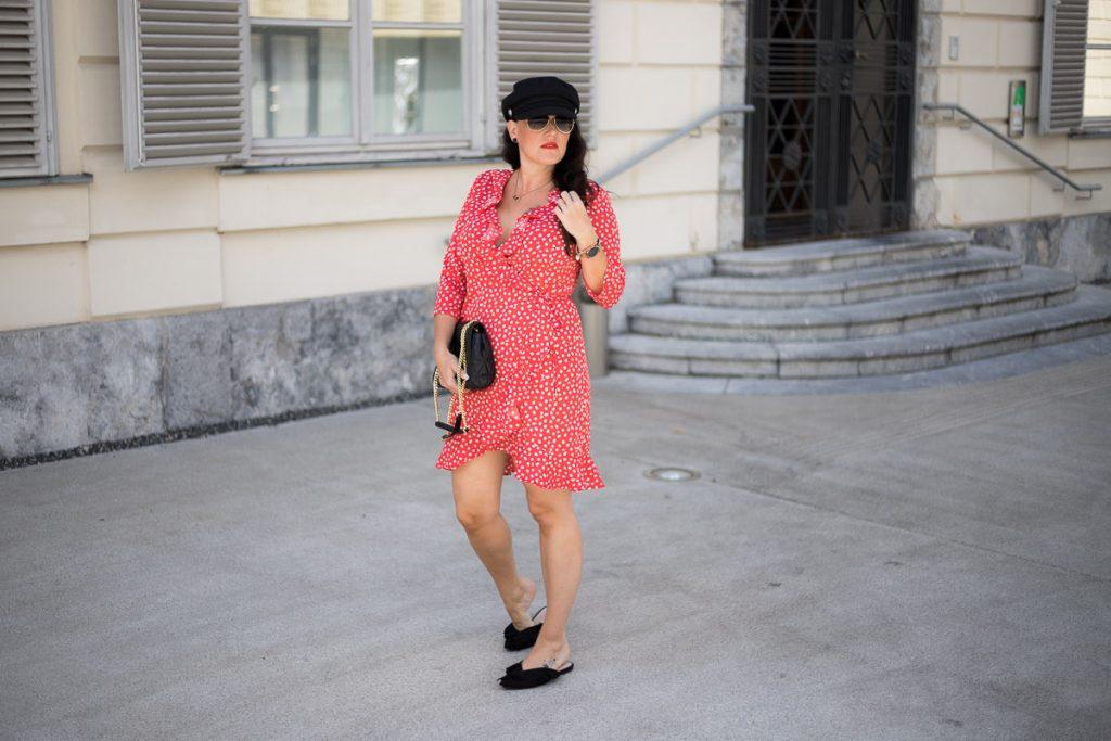 Rotes Wickelkleid Mit Polka Dots  Miss Classy