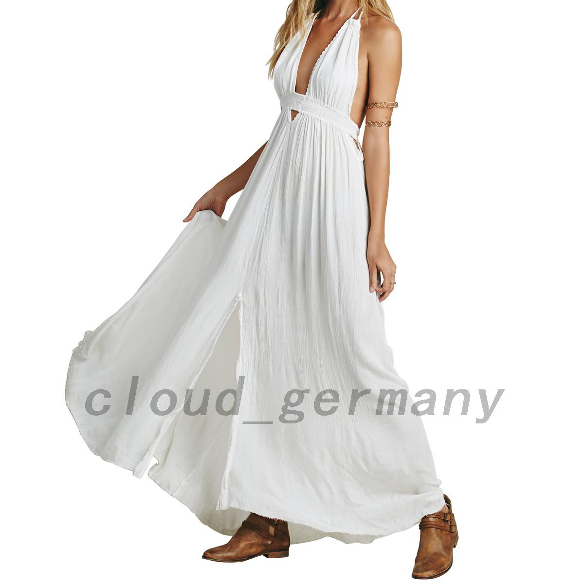 Rückenfrei Kleid Damen Elegant Hochzeit Wickelkleid