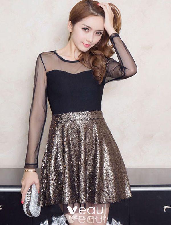 Rückenfreies Gold Partykleid Kurze Paillettenkleid Mit Ärmeln