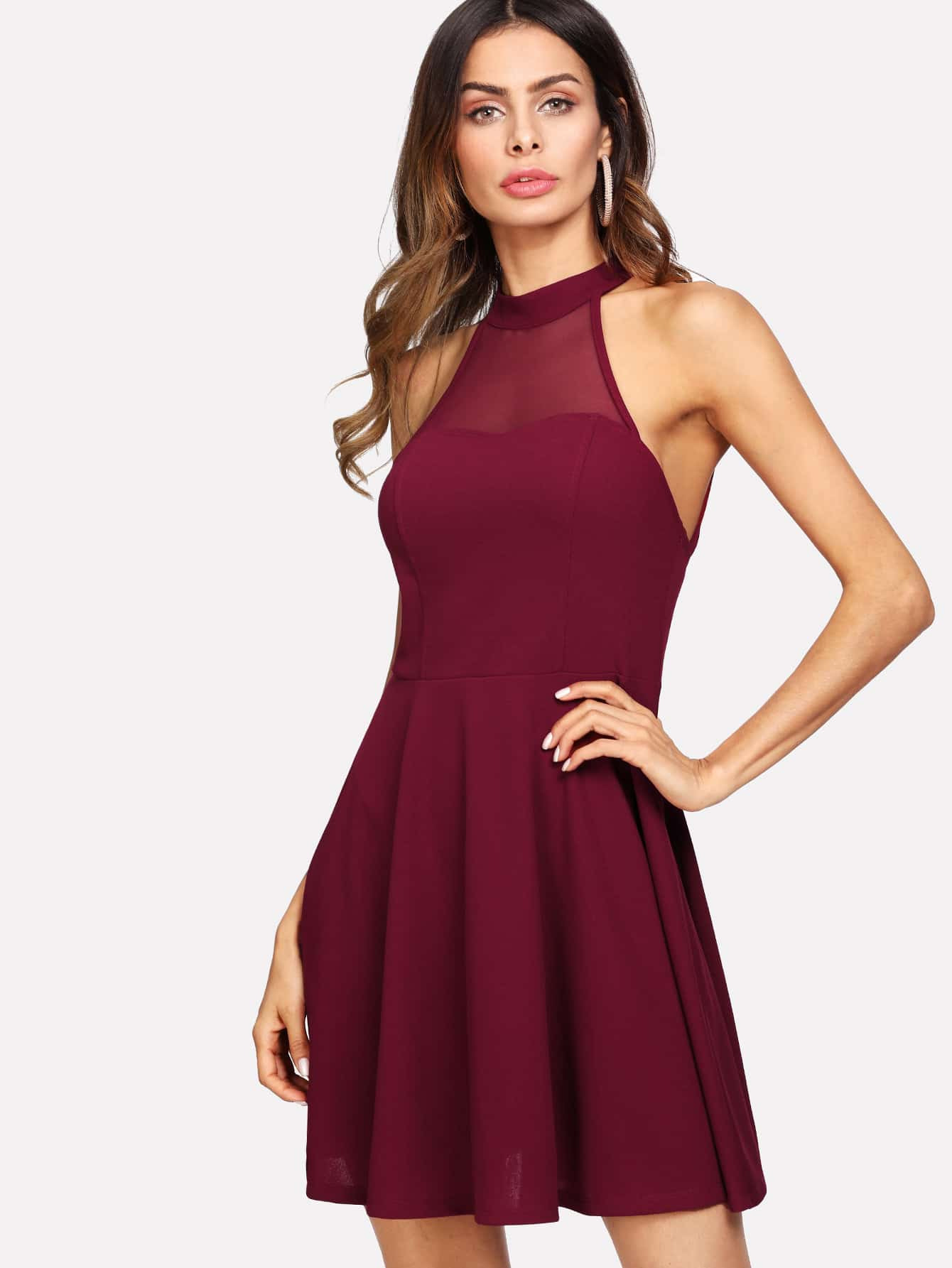 Rückenfreies Kleid Mit Netzstoff  Shein