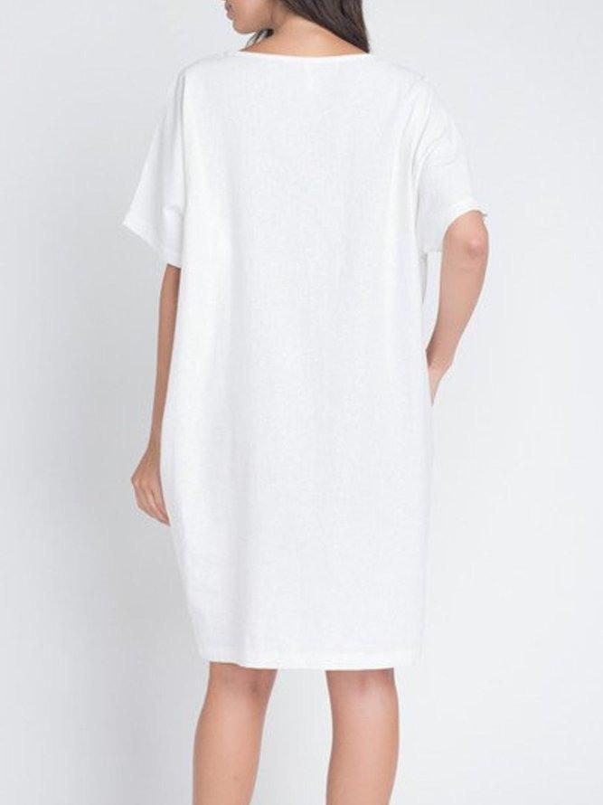 Rundhals Normale Kleider Aus Leinen Für Strand  Modetalente