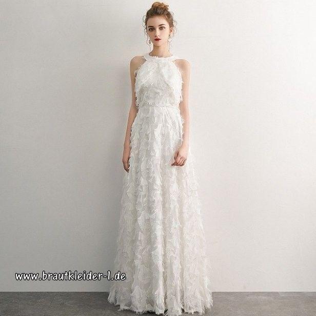 Rundhals Standesamt Kleid Mit Federn Mit Spitze In Weiß