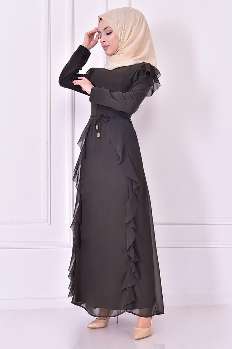 Rüschen Chiffon Kleid Khaki