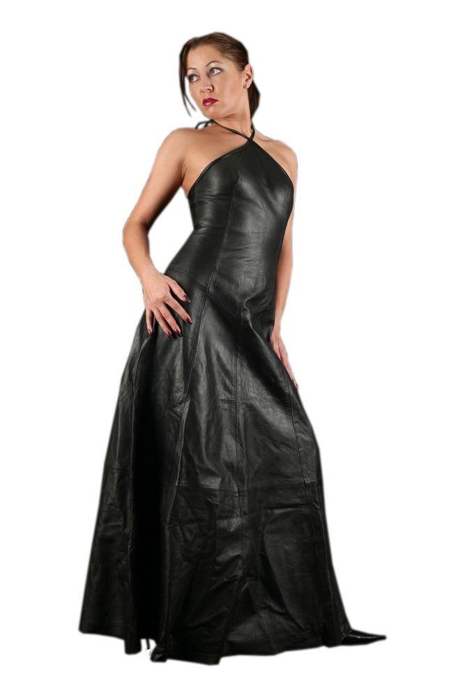 S73 Echt Leder Kleid Lederkleid Dress Lang Schwarz M