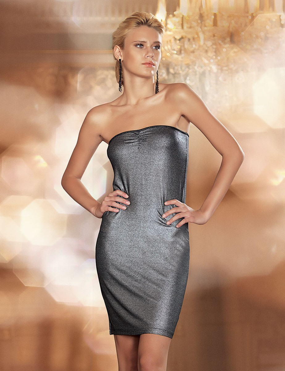 Sahinler Trägerloses Kleid Mit Glitzer Bedruckt Schwarz Mb1012