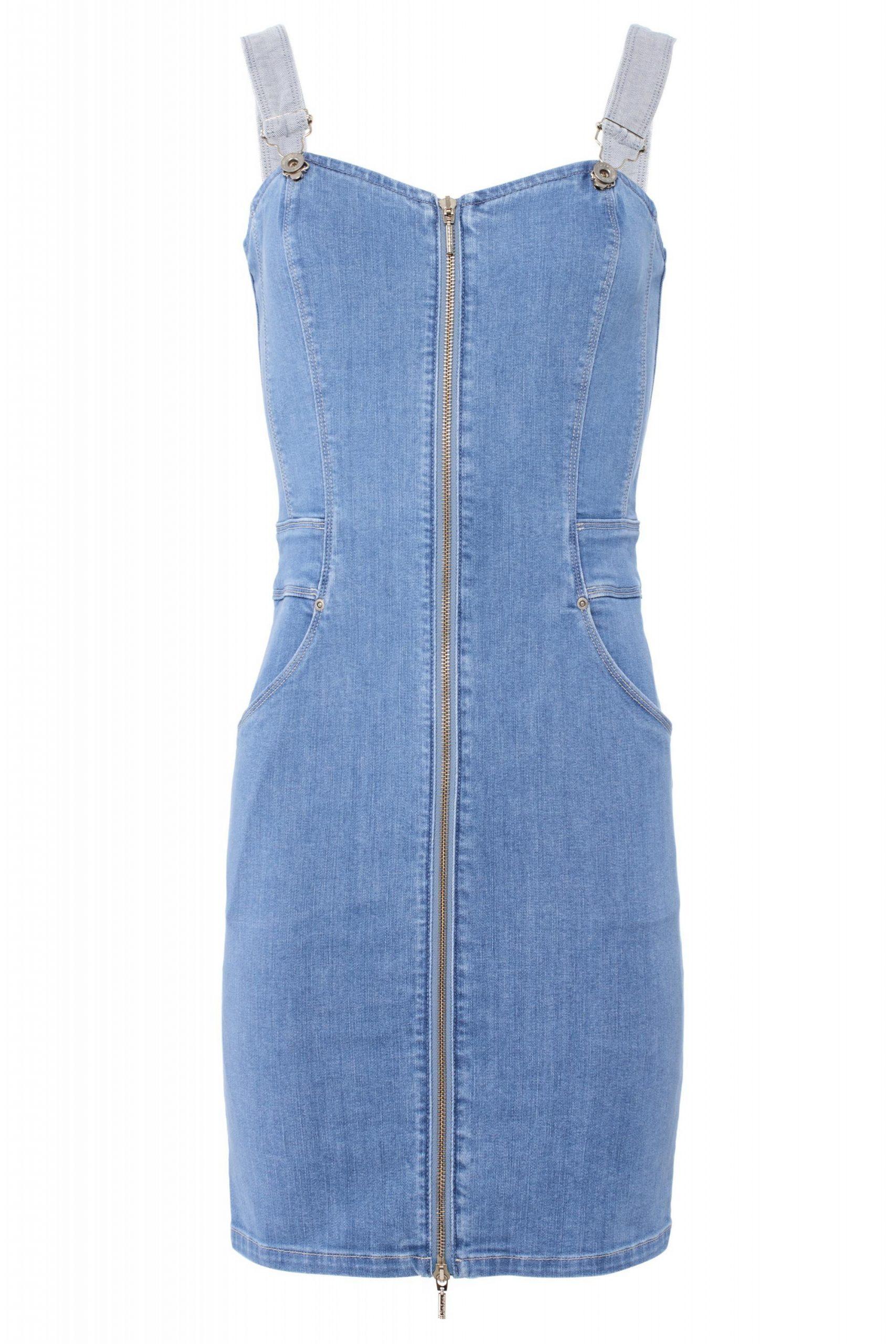 Salsa Jeans Kleid Push Up Mit Zipper Light Blue 123298
