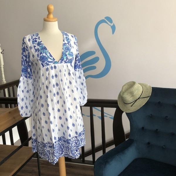 Salty Skin Tunika Kleid Mit Paisley Print In Blau  Weiß