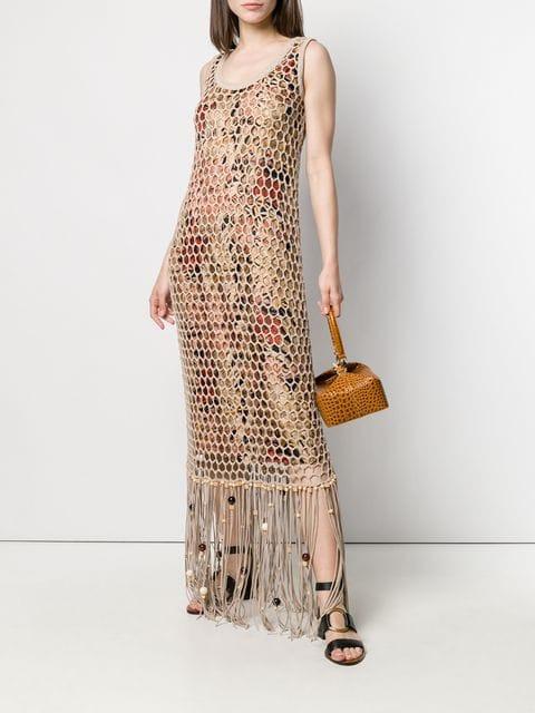 Salvatore Ferragamo Kleid Mit Netzoverlay Damen Beige