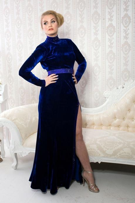 Samtkleid Blau