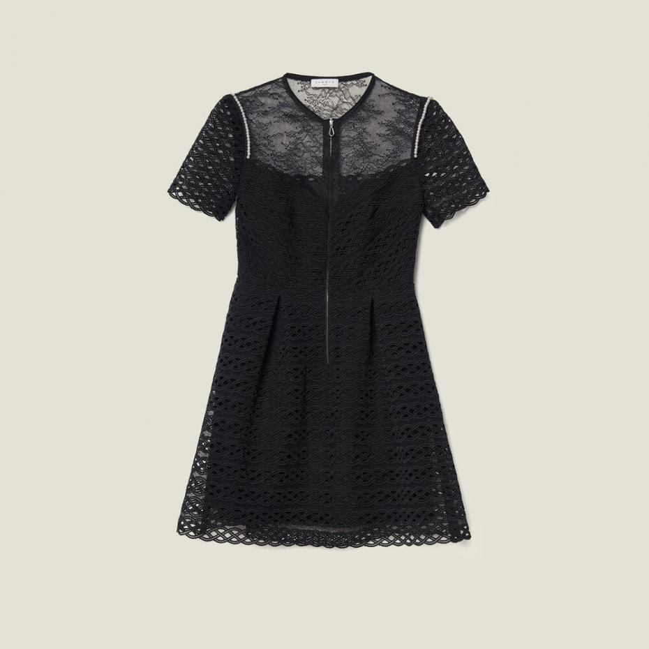 Sandro Paris Kleider  Damen Skaterkleid Aus Gipürespitze