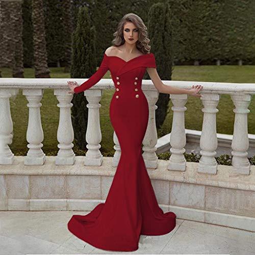 Sannysis Damen Langarm Abendkleider Elegante Unregelmässig