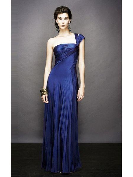 Satin Blau Abendkleid Lang Einschulter  Atemberaubende