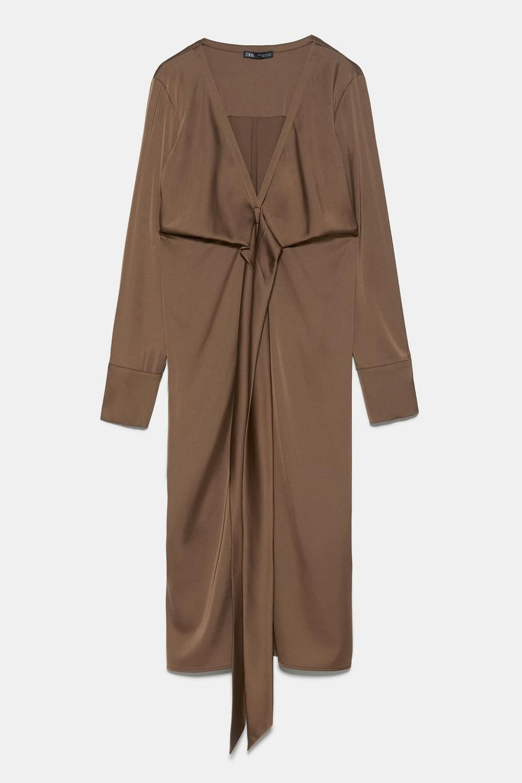 Satin  Effect Dress With Tie Detail  Zara Indonesia