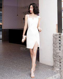 Satin Etui Kurze Abschlusskleid Cocktailkleid Weiß Online