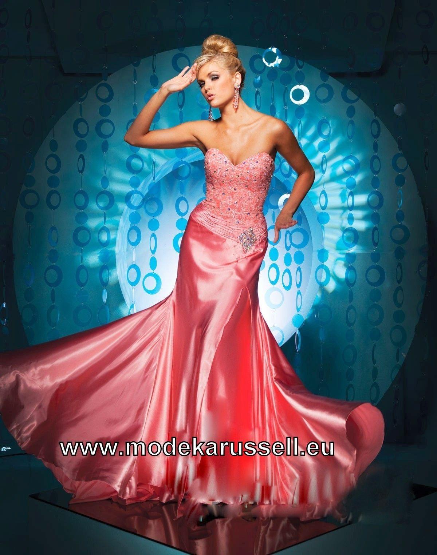 Satin Meerjungfrau Abendkleid In Lachs Mit Bildern