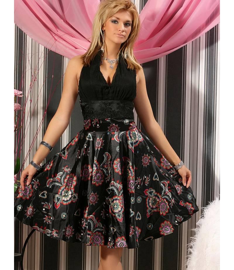Satinkleid Fashion Wave  Blumenornamente  Schwarz All