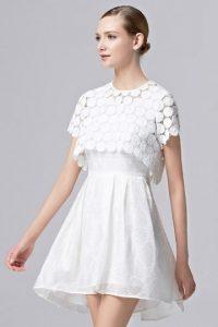 Schlicht Alinie Kurz Ärmellos Weiß Abendkleid Mit Jacke