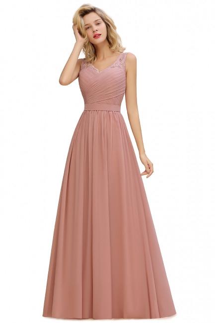Schlichte Brautjungfernkleider Lang Chiffon  Rosa Kleid