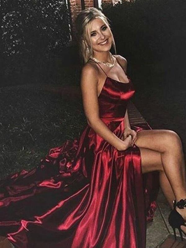 Schlichtes Abendkleid Ballkleid Lang Rot Seide Satin Mit